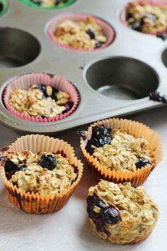 Healthy Banana Blueberry Oatmeal Muffins Recipe Zucchini Breakfast, Breakfast Muffins, Breakfast Recipes, Breakfast Ideas, Diabetic Breakfast, Muffin Tin Recipes, Ww Recipes, Banana Recipes, Sweets