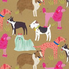 Geofabulous is a beautiful collection by Maude Asbury for Blend Fabrics that came onto the market this summer. The print designs are desc. Dog Wallpaper, Pattern Wallpaper, Fabric Patterns, Print Patterns, Conversational Prints, Dog Illustration, Animal Illustrations, Dog Art, Surface Design