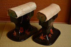 Takamakura geisha head rest pillows, pair, urushi lacquerware with gold maki-e design by StyledinJapan on Etsy