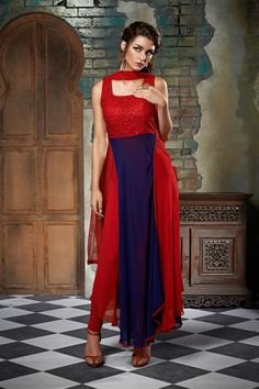 #Red & ink #blue #georgette #admirable #anarkali with u #neck and high neck makes the wearer look #lovely and #perfect #indian #fashion #designer #collection #gorgeous #outfit #slim #fit #comely #ravishing