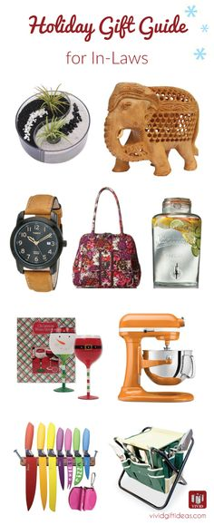 Gift ideas for inlaws for Christmas and other occasion. Including home decor, kitchen appliances, watch for father in law, handbag for mother in law and more. (Holiday gift guide)