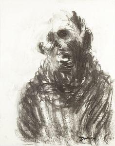 """Eugène DODEIGNE (né en 1927)  """"Homme la bouche ouverte""""  Fusain et pierre noire.  Signé et daté.  65 x 48 cm"""