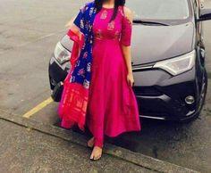 Anarkali with simple pattu Ikkat Dupatta