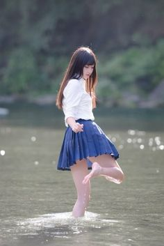 Japanese girl by the river