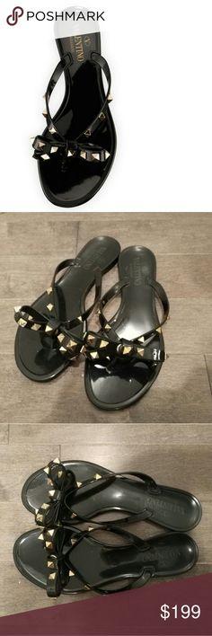 Valentino Garavani Rockstud Jelly Bow Sandals Very good condition! 4 studs are missed. Valentino Garavani Shoes Sandals