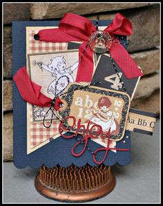 """Cathy also created this adorable card with the Graphic 45 """"ABC Primer Collection"""" from www.scraptownlady.com"""