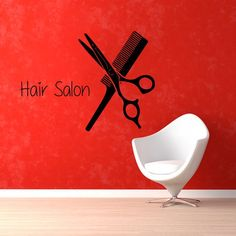 Hairdressing Beauty Salon Wall Decor Comb Scissors Home Decor Vinyl Art Decor Make Up Sticker Decal size 33x45 Color