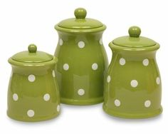 Amazon.com: Terramoto Ceramic 3-Piece Polka Dots Canister Set, Moss Green: Kitchen & Dining