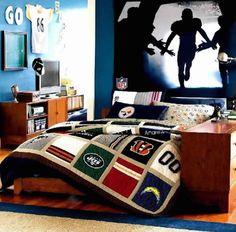 Teen Room: Teen Boy Room Decorating Ideas With Wooden Floors, boys rooms, room color schemes ~ GOZETTA Boys Football Room, Football Bedroom, Cool Boys Room, Cool Room Designs, Boy Room Paint, Boys Bedroom Decor, Bedroom Ideas, Bedroom Designs, Bedroom Furniture