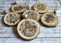 Wood Crafts for Christmas - Wood Burned Christmas Ornaments From Wooden Branch Slices