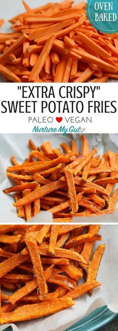 These fast & easy sweet potato fries are… Extra Crispy Baked Sweet Potato Fries. These fast & easy sweet potato fries are sure to be a family favorite! Ready in less than 25 minutes. Easy Sweet Potato Fries, Crispy Sweet Potato, Sweet Potato Fries Seasoning, Baked Potato, Air Fryer Sweet Potato Fries, Baked Sweet Potato Wedges, Low Carb Sweet Potato, Sweet Potato Chips, Whole Food Recipes