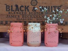 Painted Mason Jars, Peach, White and Gold Wedding Centerpiece- Shower Table Decor- Set of 3 Mason Jars