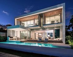 Modernist concrete and glass structure on Biscayne Bay