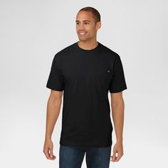 Dickies Men's Big & Tall Cotton Heavyweight Short Sleeve Pocket T-Shirt- Black 5XL