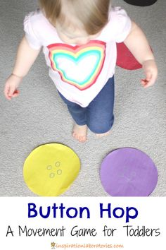 Want to get your toddlers moving? Try this button hop. It's a fun and easy movement game that can practice colors, counting, and listening skills.
