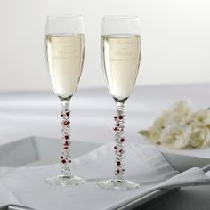 Hand-Decorated Champagne Toasting Flutes with Austrian Crystals