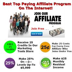 YES Our Affiliate Program Is Loaded With 25's 25 cent's for every new affiliate you recruit – 25% paid on –2– levels – $25 monthly residual income – and 25 free credits in our marketing tools store when one of your prospects registers. Our Best Top Paying Affiliate Program offers hundreds of FREE TRIAL marketing […]