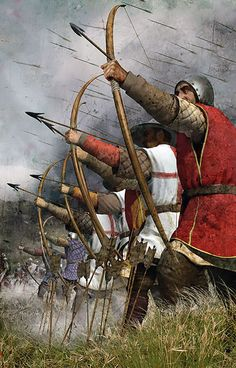 The Battle of Agincourt was a major English victory in the Hundred Years' War. The battle took place on Friday, 25 October 1415 in the County of Saint-Pol. Longbow played an important role in this battle and also in the whole war. Medieval Archer, Medieval Knight, Medieval Fantasy, English Longbow, Battle Of Agincourt, Armadura Medieval, Age Of Empires, Templer, Late Middle Ages