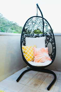 Palm Beach Project - Emma Blomfield Interior Stylist Sydney. Outdoors. Pops of Colour. Black Egg Chair. Hanging Chair.
