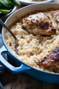One Pot Creamy Parmesan Garlic Risotto with Lemon Pepper Chicken - fantastic midweek meal, such little effort for an incredible dish.