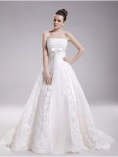 designer wedding dress 2014 trends , Gorgeous A-Line Strapless Organza and Lace with Bow Chapel Train Wedding Dress , Bridesmaid Dresses Under 100, 2015 Wedding Dresses, Prom Party Dresses, Designer Wedding Dresses, Bridal Dresses, Dress Wedding, Lace Wedding, Dresses 2013, Mermaid Wedding