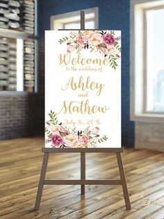 Printable Wedding Sign Welcome Wedding Sign Blush and gold