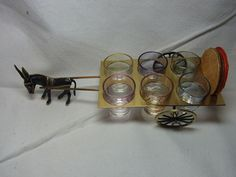 Mid Century 60´s 6 Shot Glass on Brass Donkey with Cart # AS
