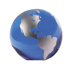 Blue And Hand painted Silver Globe 3 inches