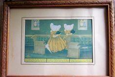 Antique Whimsical Sunbonnet Girls Framed Print by angelinabella, $18.00