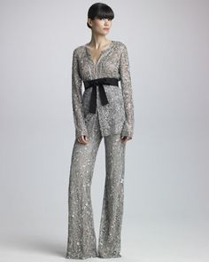 GORGEOUS! Sequined Belted Jacket & Wide-Leg Pants by Naeem Khan at @Bergdorfs www.ChristinaStyles.com