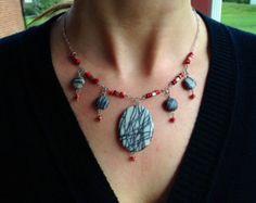 Zebra Jasper Pendant, Coral and .925 Sterling Silver Statement Necklace
