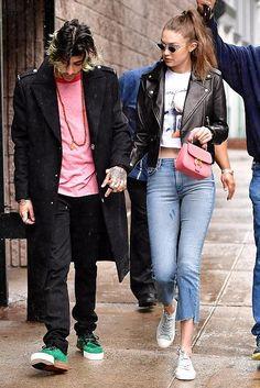 Gigi Hadid wearing Le Specs X Adam Selman the Last Lolita Sunglasses, Black Orchid Cindy Slant Jeans in Lancer and Burberry Dk88 Bag