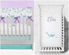 Mermaid Crib Bedding for your Mermaid Nursery with Personalized Crib Sheet and Mermaid Scales in Purple and Teal Mermaid Nursery Theme, Little Mermaid Nursery, Mermaid Bedding, Nursery Themes, Girl Nursery, Ocean Nursery, Nursery Ideas, Mermaid Room, Disney Nursery