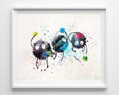 Spirited Away Print Sootballs Watercolor Art Home by InkistPrints