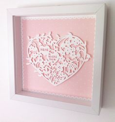 Paper Cut Heart In Frame Home Is Where the by KatieElliottDesigns, £35.00