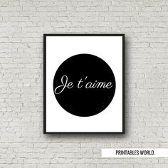 Je t'aime Printable Poster Instant Download by PrintablesWorld