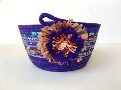 Coiled Rope Basket in Purples Plums Lavender by SallyManke