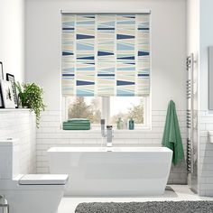Splash Geo Medley Britannica Blue Roller Blind from Blinds 2go