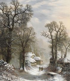 Cottages and figures on a wintery forest lane - Charles Leaver  1867