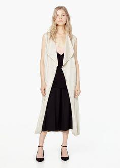 Chaleco largo cinturón, culottes negro -  Mujer | MANGO