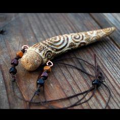 Carved Spirals Antler Vessel Pendant by DreamingDragonDesign