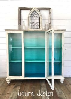 This item is sold and up only for portfolio purposes. Painted China Cabinets, Painted Hutch, Painted Furniture, How To Start Painting, Ombre, Mermaid Bedroom, Etsy, Bathroom Medicine Cabinet, Dining Room Table