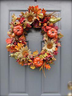 Thanksgiving Wreaths Door Fall Wreaths by WreathsByRebeccaB, $72.00