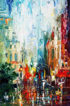 Leonid Afremov.  Acho íncrível pinceladas no estilo ''impressionista'' com camadas pesadas de tinta que resulta num efeito muito interessante.