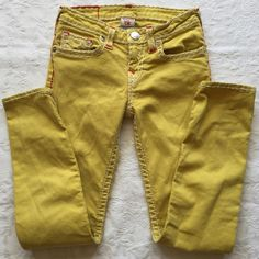 """SOLD SOLD Children's True Religion jeans size 12, inseam 26"""". Stella Super Skinny leg, zip & button fly., classic 5 pockets. Yellow with white topstitching. Great pre-loved condition. True Religion Jeans Skinny"""