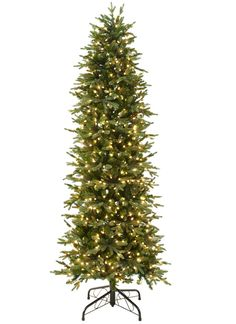 """Slim Christmas tree at Lowes: Find room for a tree even in a small space with this skinny beauty. It's 7' tall, 35"""" wide, and loaded with 700 lights (#329201)."""