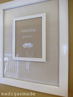 a frame-on-top-of-a-frame decor: change out smaller frame with seasons or holidays, attach with picture hanging tape (like hook & loop only stronger) ~ Madigan Made