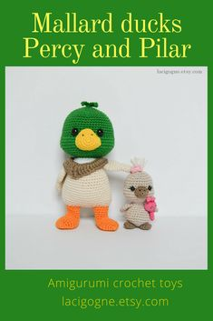 TOY: Mallard Ducks Percy and Pilar Amigurumi Crochet Toys Fairytale Gift Amigurumi toy Crochet toy Duck crochet Crochet Animal LaCigogne toys #Mallardduck #duck #crochetduck #amigurumi #crochet #crochettoy #amigurumitoy #crochetanimal #duckcrochet #amigurumianimal #lacigognefr