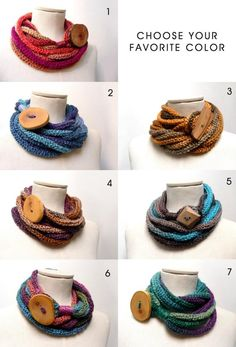 Items similar to Loop Infinity Scarf Necklace, Knitted Scarlette Neckwarmer - Ombre yarn with giant wood button - CUSTOM COLOR on Etsy Spool Knitting, Knitting Patterns, Scarf Necklace, Crochet Necklace, Ombre Yarn, Loop Scarf, Fabric Jewelry, Neck Warmer, Knit Crochet