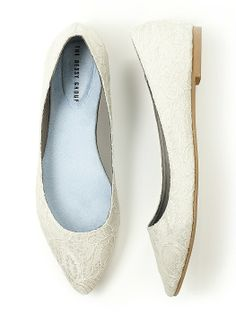 Our lace bridal ballet flat is the perfect shoe to carry you through your big day. Modern pointed toe is a fresh take on a classic style. Ships with a reusable print shoe bag.   http://www.dessy.com/accessories/Lace-bridal-ballet-flat/
